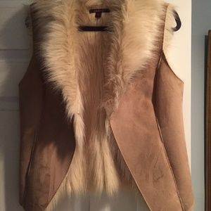 Faux Suede Tan Fur Vest by Fever in Small - S